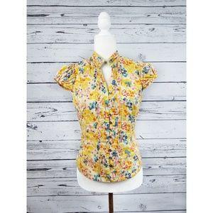 Fei Anthro yellow floral short sleeve pintuck top